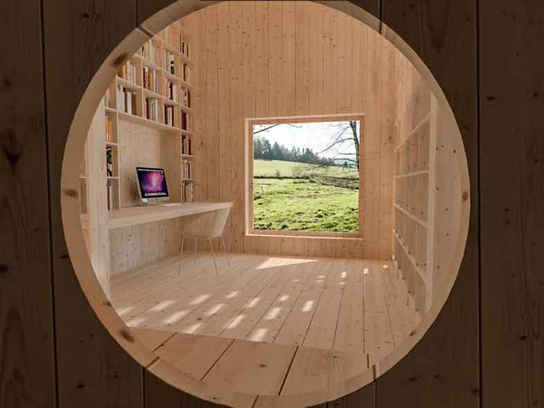Dům pro jedny architekty - vizualizace kruhového průhledu do pracovny. Autor: Kurz architekti