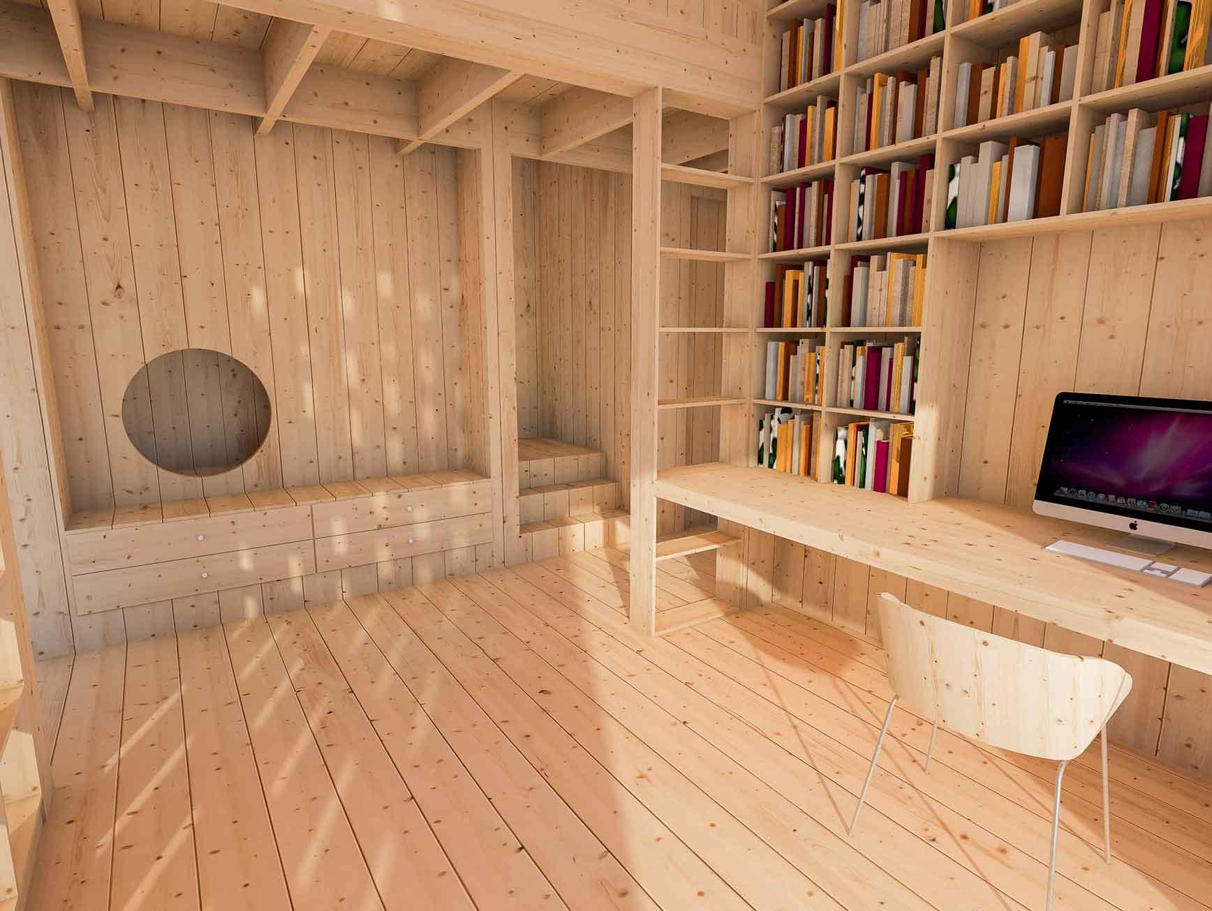 Dům pro jedny architekty - vizualizace interiéru pracovny. Autor: Kurz architekti