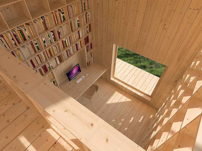 Dům pro jedny architekty - vizualizace pohledu z patra do přízemí pracovny. Autor: Kurz architekti