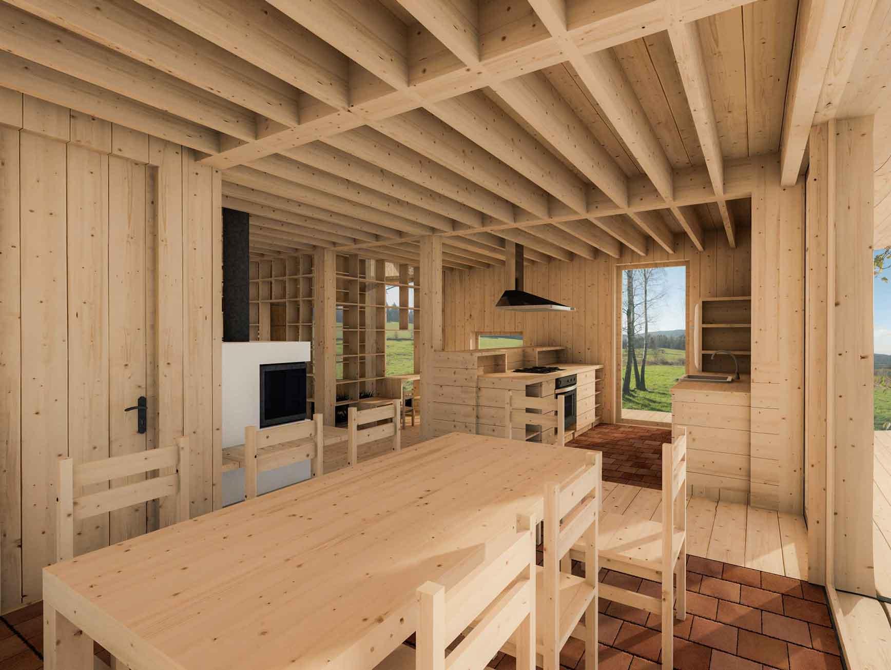 Dům pro jedny architekty - vizualizace interiéru jídelny s kuchyní. Autor: Kurz architekti