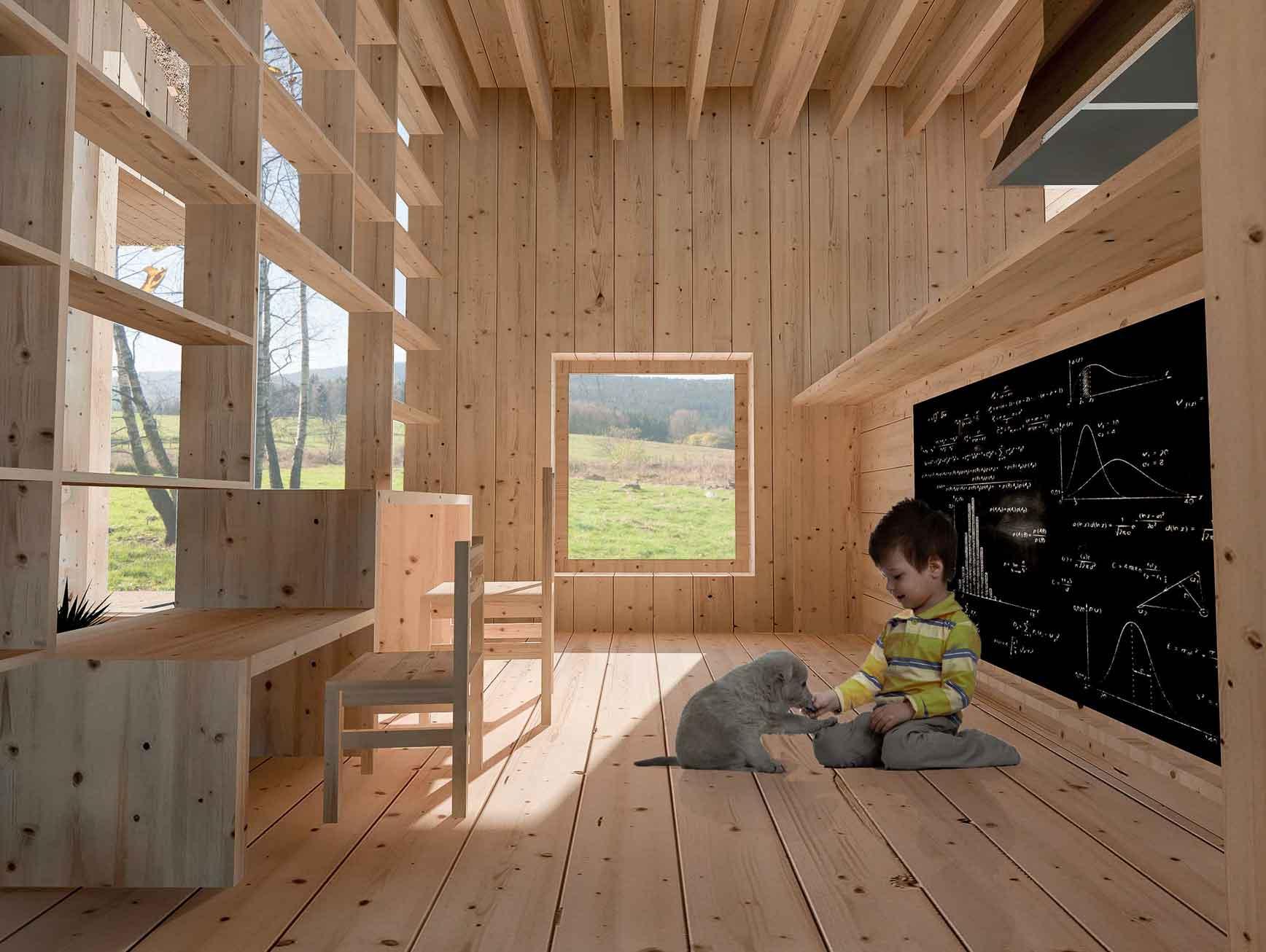 Dům pro jedny architekty - vizualizace interiéru. Autor: Kurz architekti