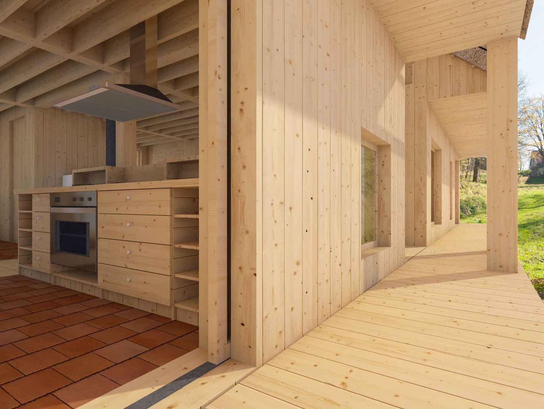 Dům pro jedny architekty - vizualizace verandy. Autor: Kurz architekti