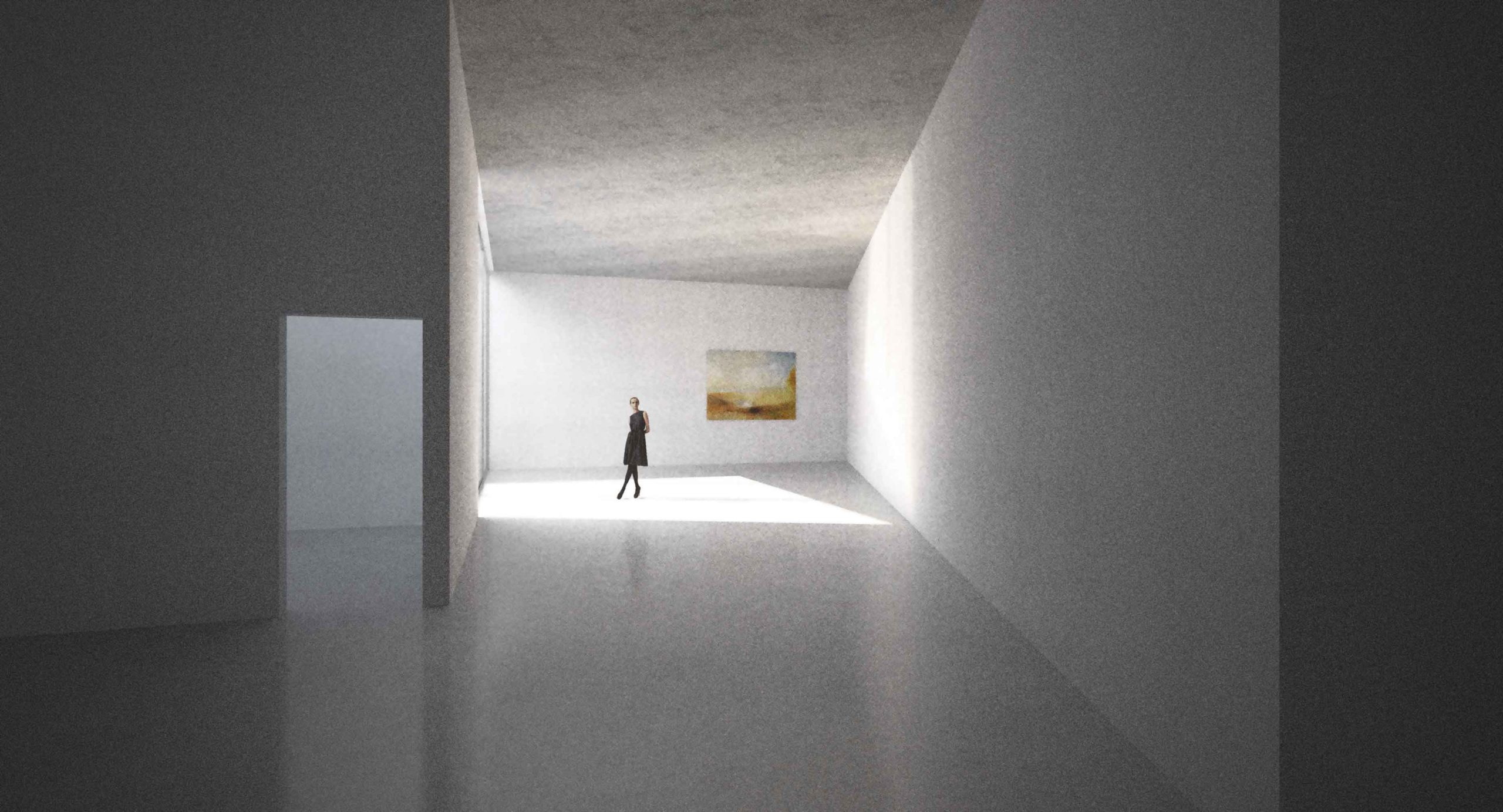 Galerie České Budějovice - vizualizace vnitřního výstavního prostoru. Autor: Kurz architekti