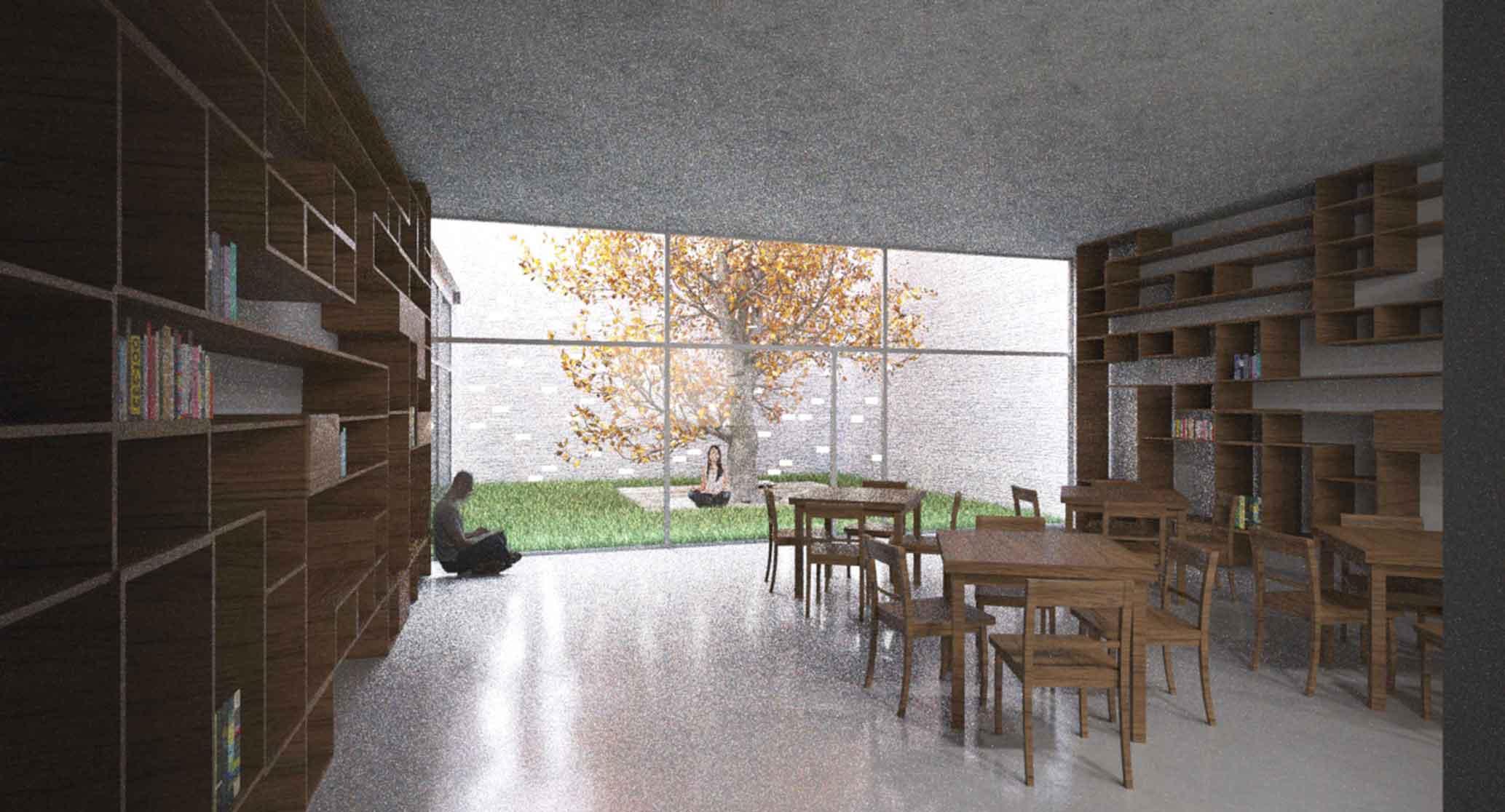 Galerie České Budějovice - vizualizace interiéru galerijní kavárhy. Autor: Kurz architekti