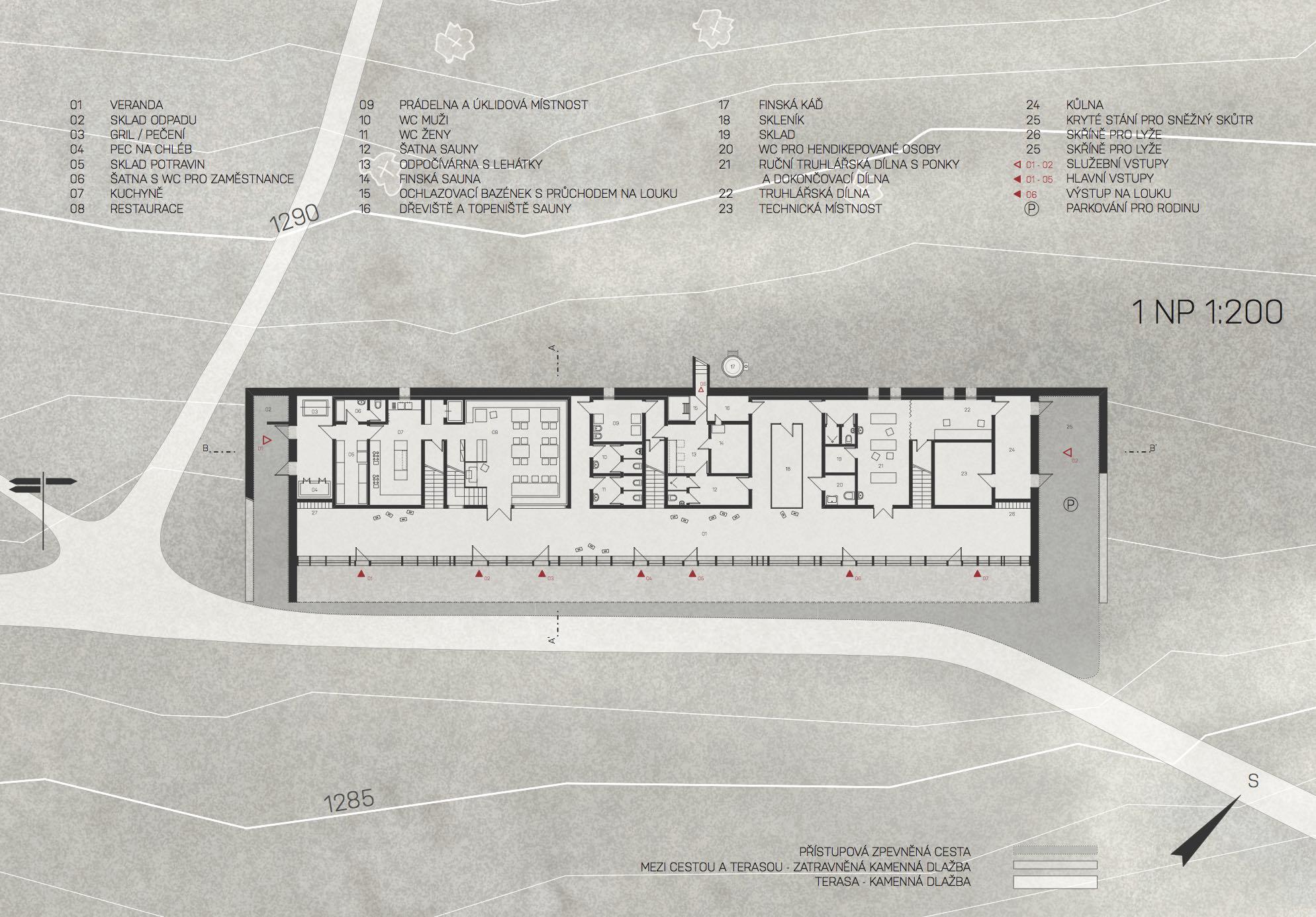 Hotel Petrova bouda - půdorys 2.NP. Autor: Kurz architekti