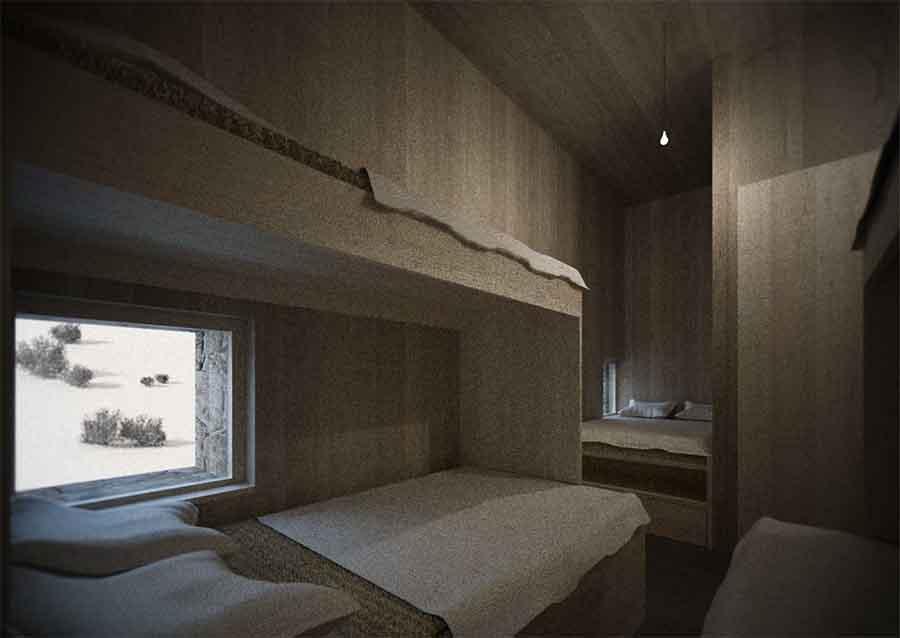 Hotel Petrova bouda - vizualiace interiéru hotelového pokoje. Autor: Kurz architekti