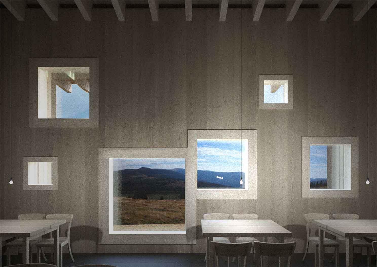 Hotel Petrova bouda - vizualiace interiéru hotelové restaurace. Autor: Kurz architekti