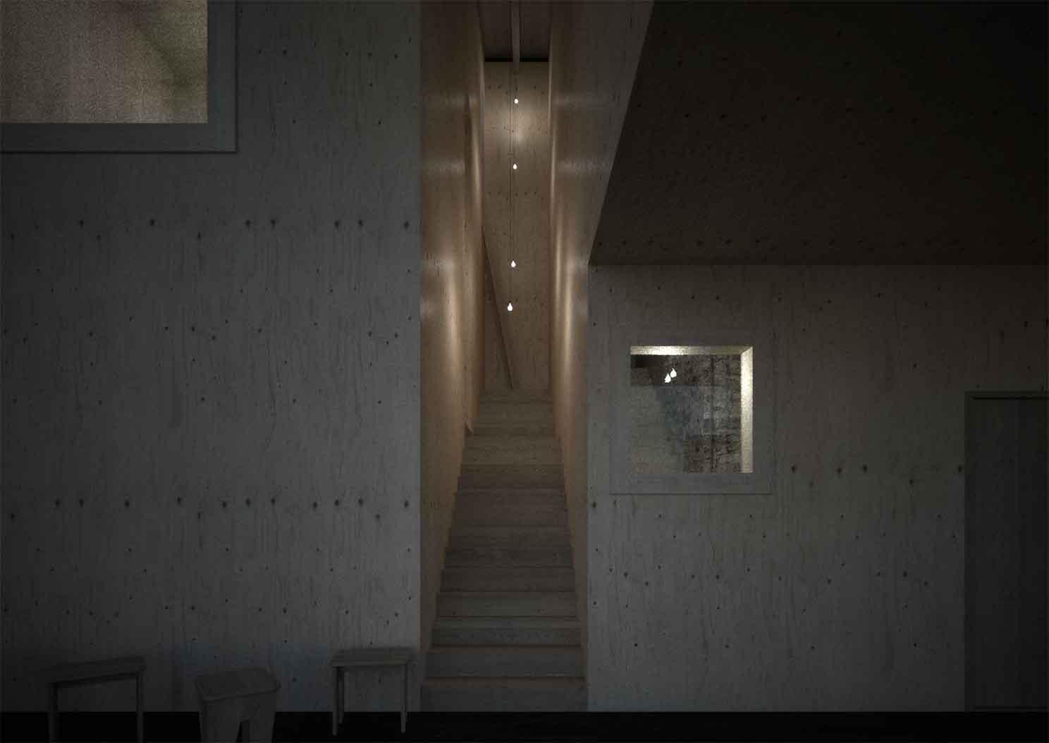 Hotel Petrova bouda - vizualiace hotelového schodiště. Autor: Kurz architekti