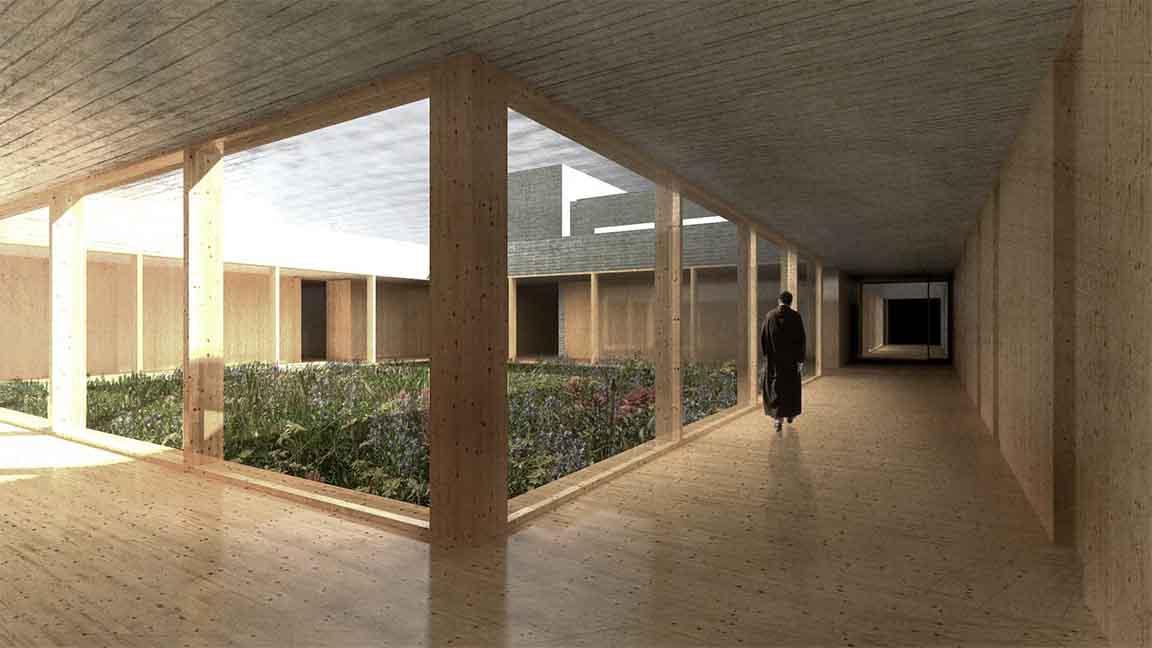 Klášter Uhliště - vizualizace klášterní rajského dvora s florou. Autor: KURZ architekti