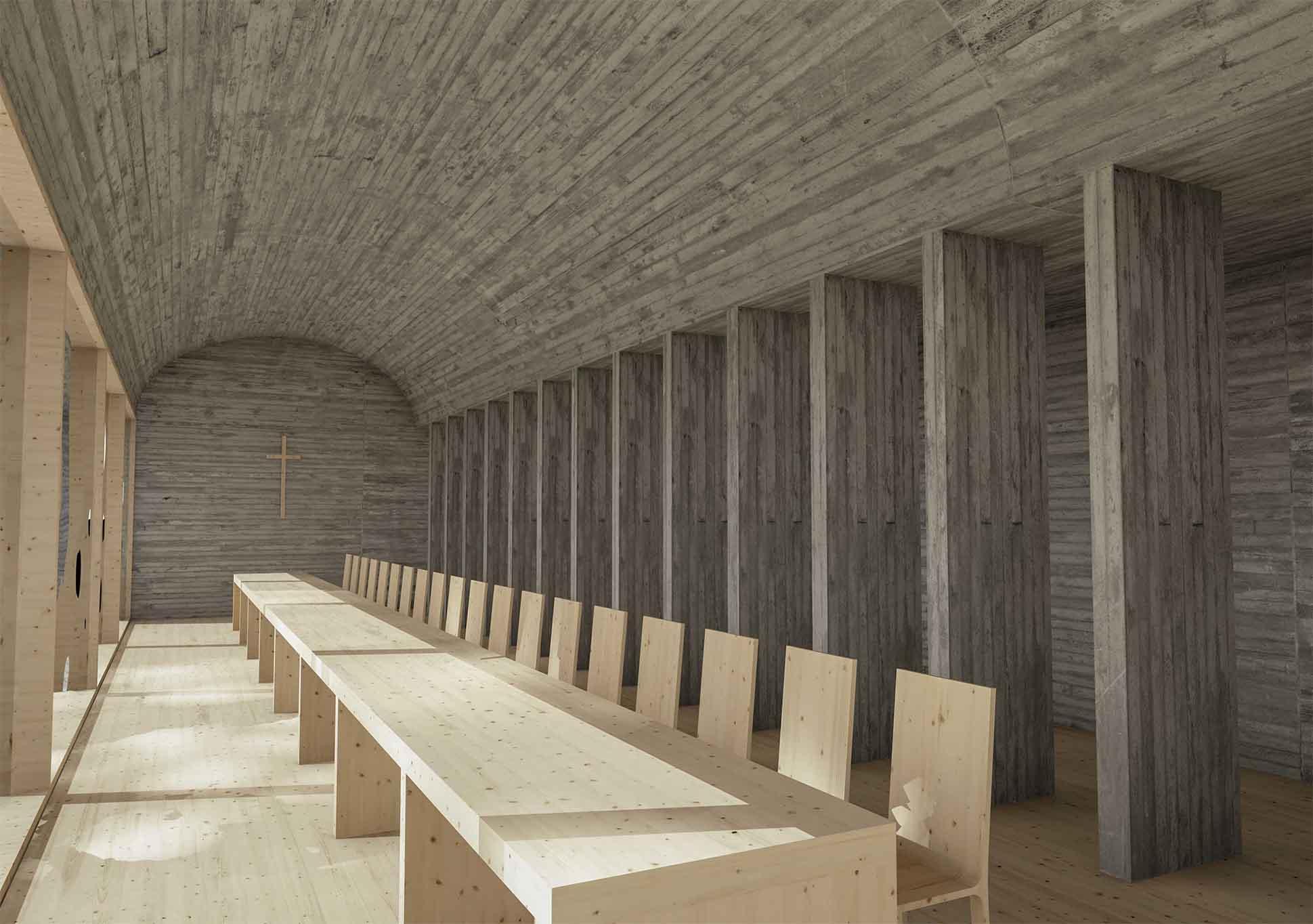 Klášter Uhliště - vizualizace interiéru klášterního refektáře. Autor: KURZ architekti