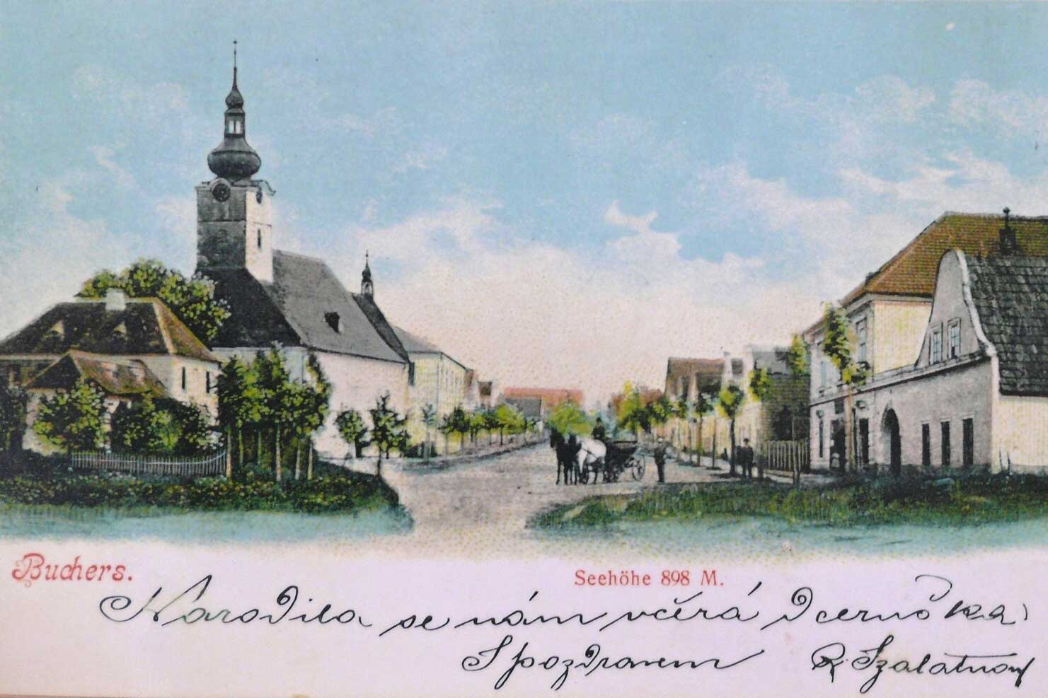 Kostel Panny Marie Dobré rady - pohlednice vyobrazující původní stav kostela. Autor: Kurz architekti