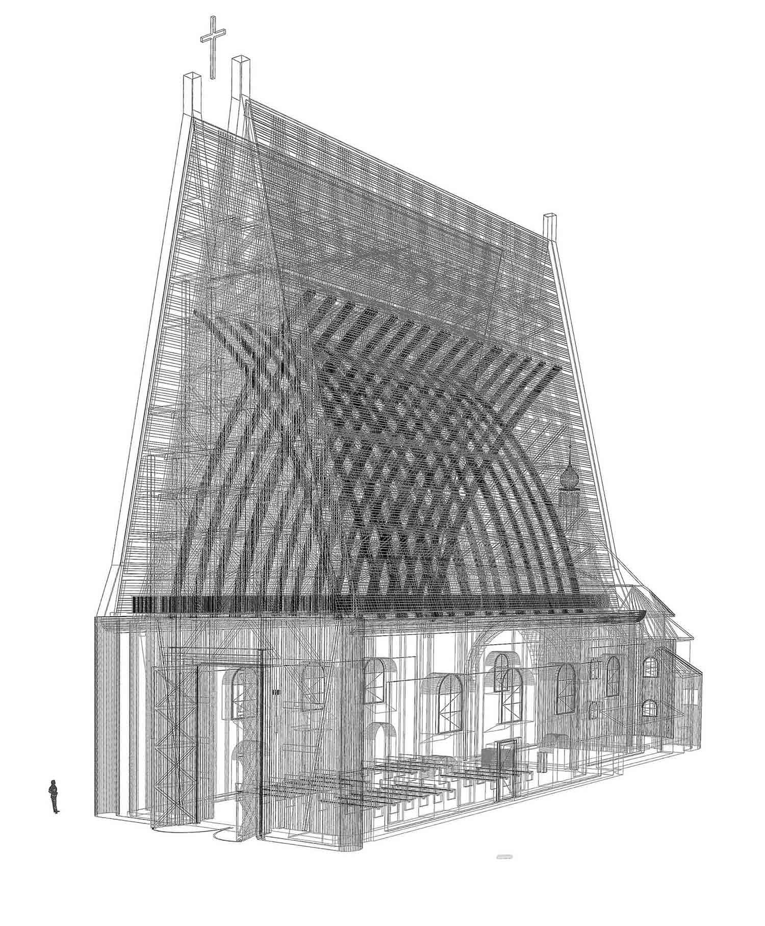 Kostel Panny Marie Dobré rady - čárový render konstrukčního systému. Autor: Kurz architekti
