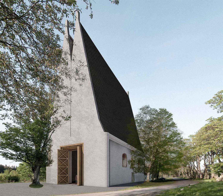 Kostel Panny Marie Dobré rady - vizualizace renovovaného exteriéru kostela v krajině. Autor: Kurz architekti
