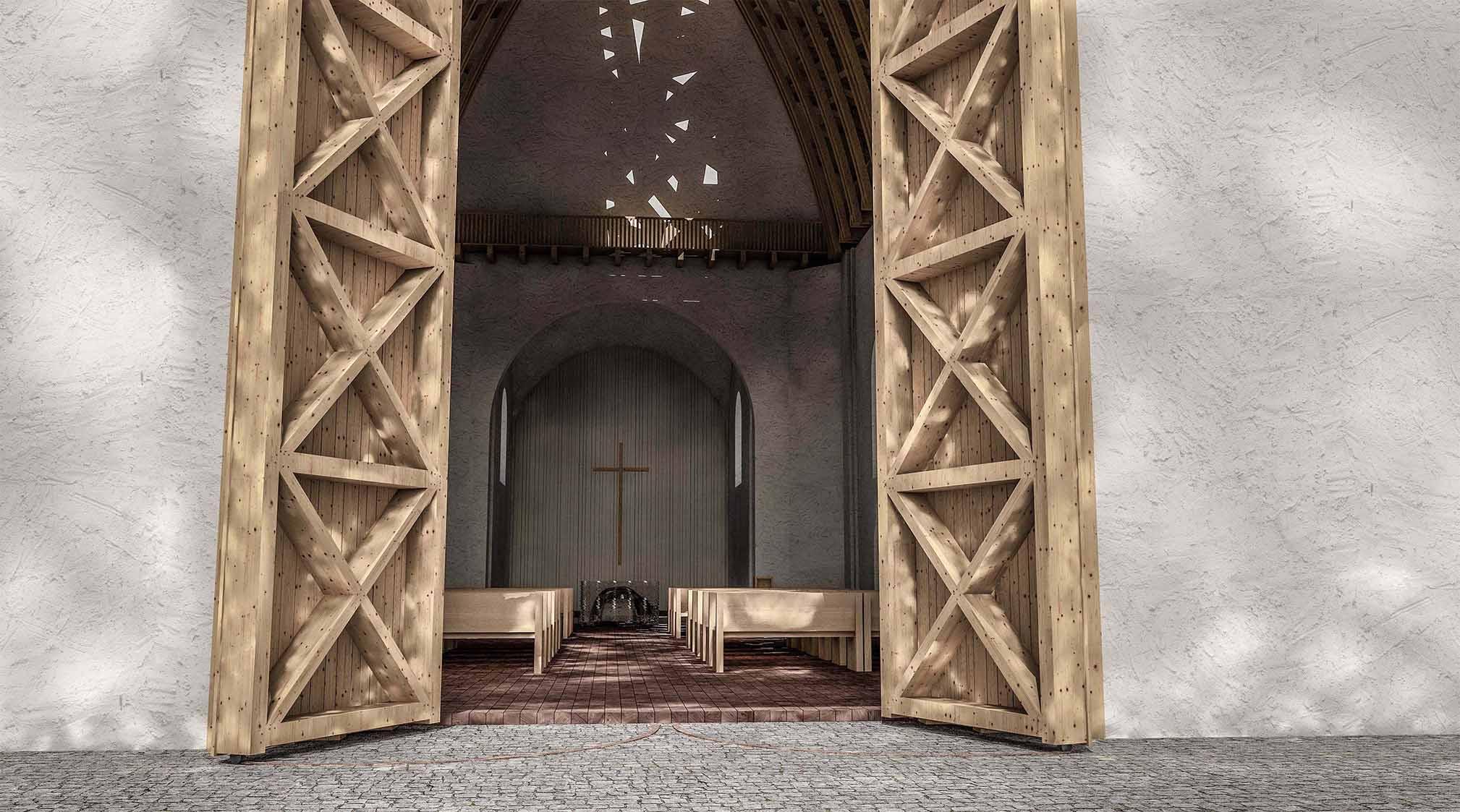 Kostel Panny Marie Dobré rady - vizualizace dřevěné brány vstupu do kostela. Autor: Kurz architekti