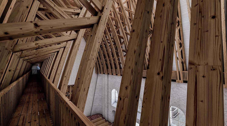 Kostel Panny Marie Dobré rady - vizualizace refinovaného dřevěného krovu. Autor: Kurz architekti