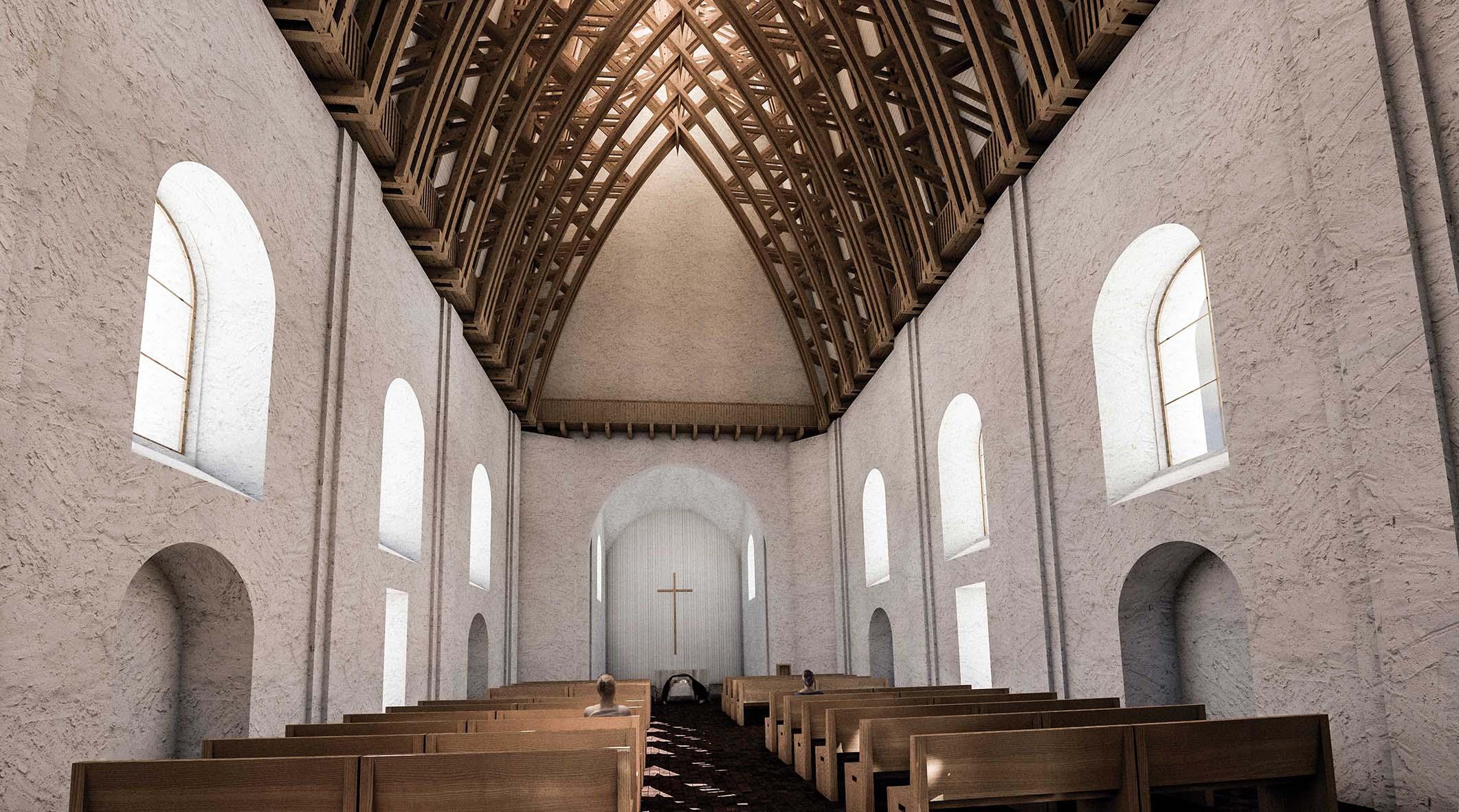 Kostel Panny Marie Dobré rady - vizualizace renovovaného interiéru - pohled do motlitebny. Autor: Kurz architekti