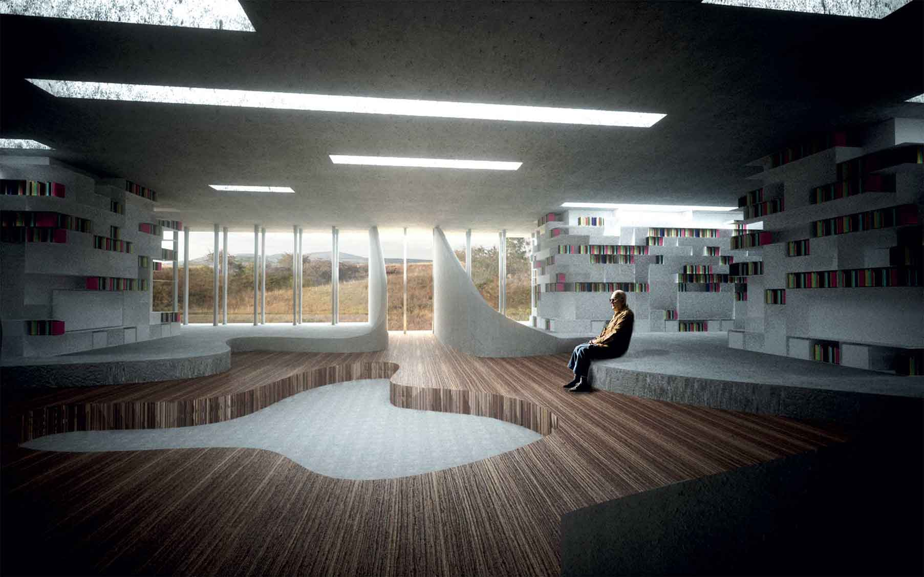 Polní knihovna - vizualiace interiéru. Autor: Kurz architekti