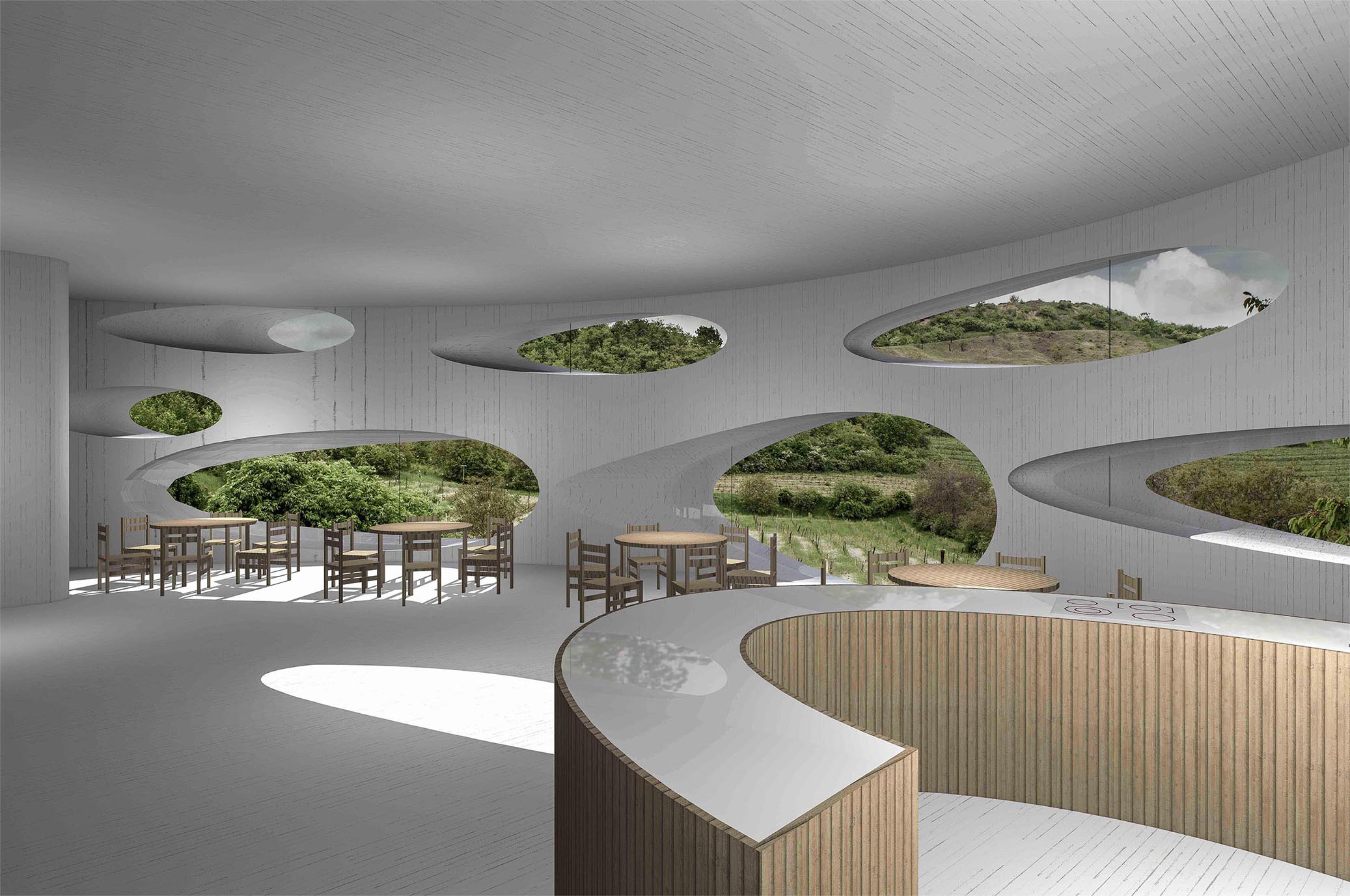 Vinařství Pod Chlumem - vizualice interiéru. Autor: KURZ architekti