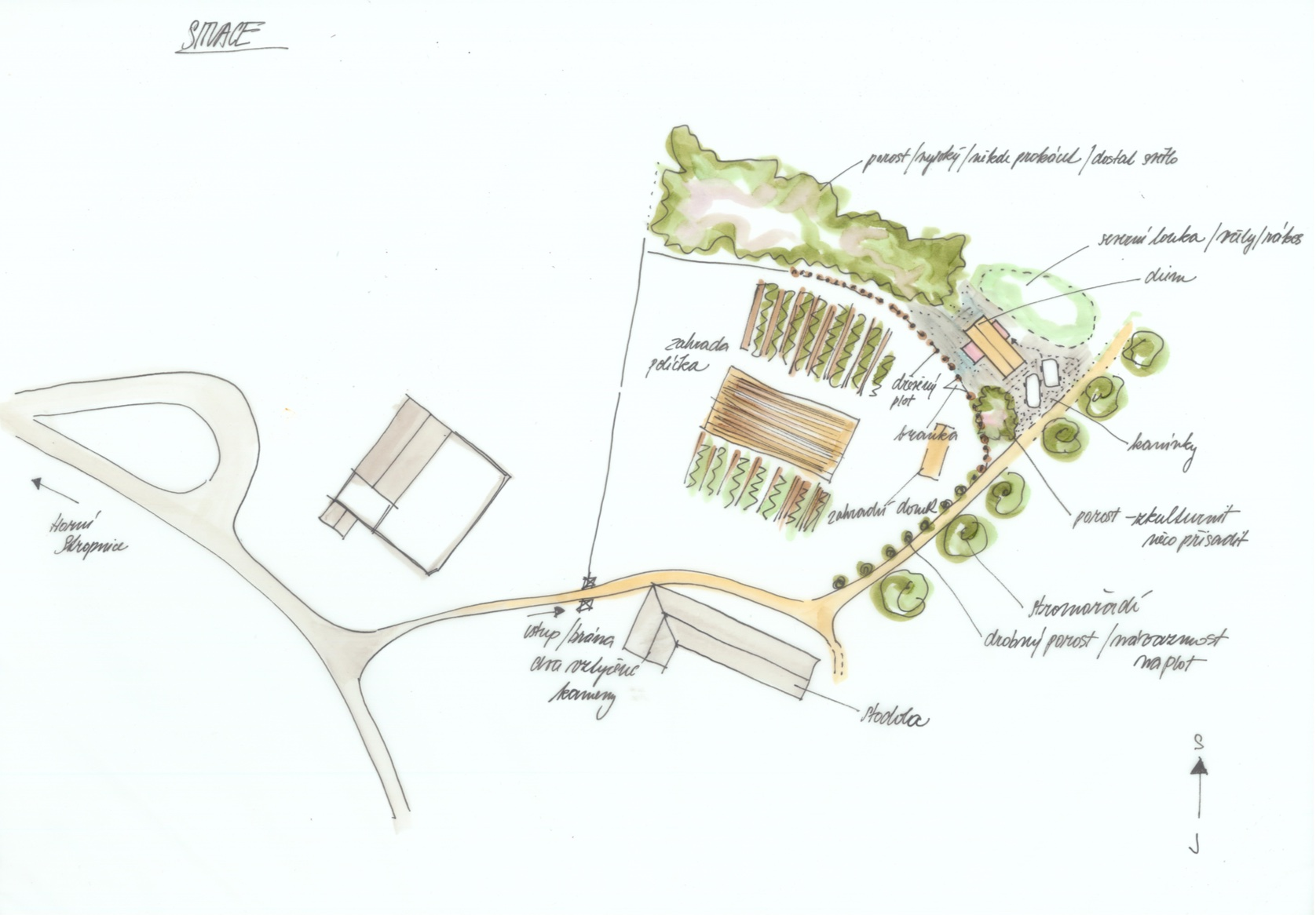 Dům Tři světnice - ruční skica - situace návrhu. Autor: Kurz architekti