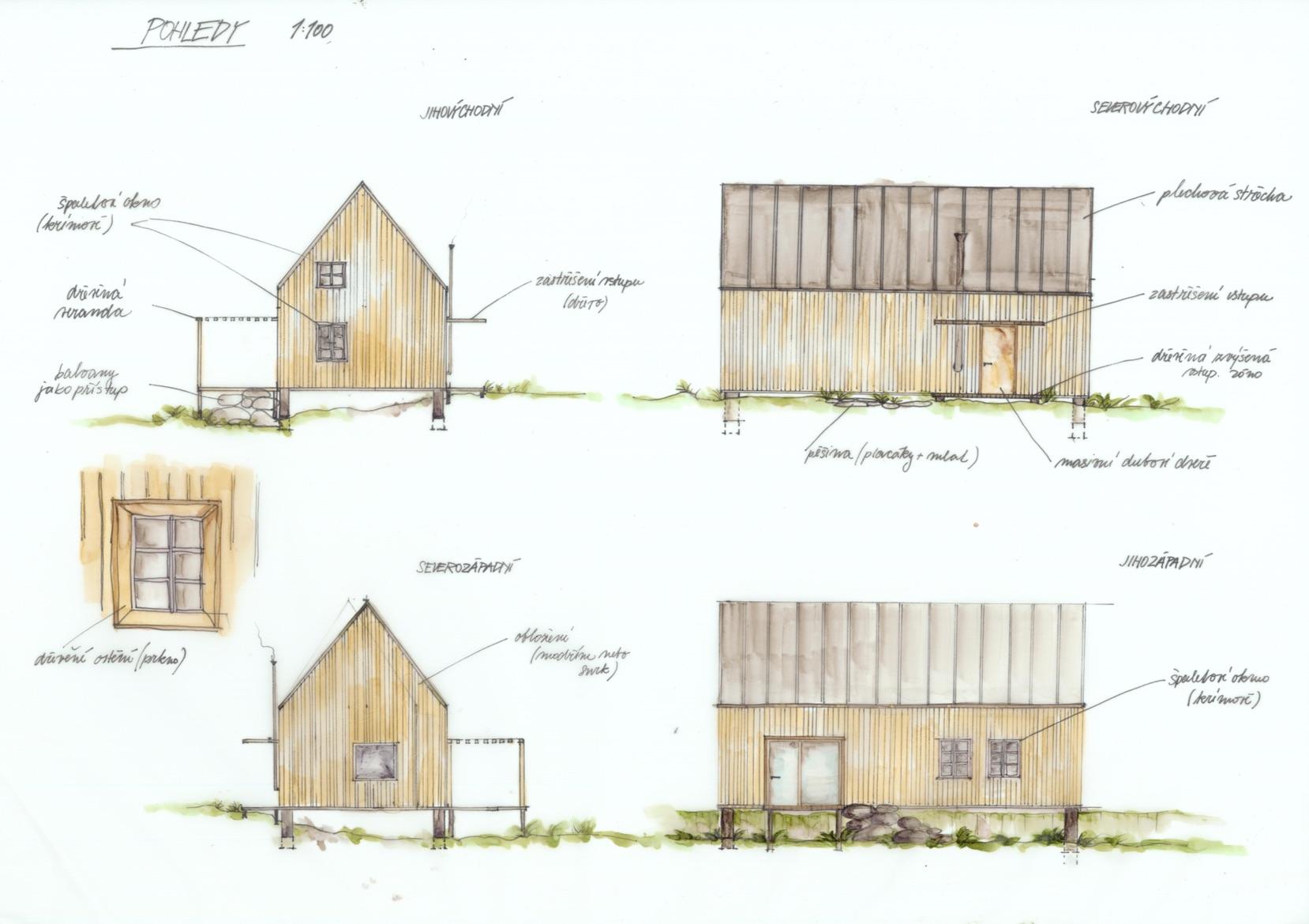 Dům Tři světnice - ruční skica - pohledy návrhu. Autor: Kurz architekti
