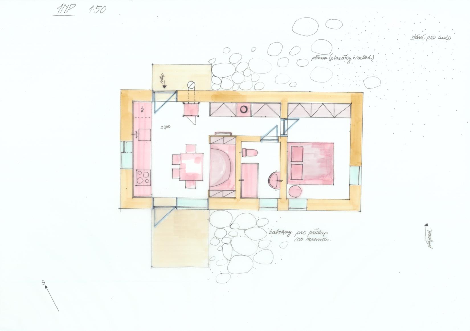 Dům Tři světnice - ruční skica - půdorys návrhu. Autor: Kurz architekti