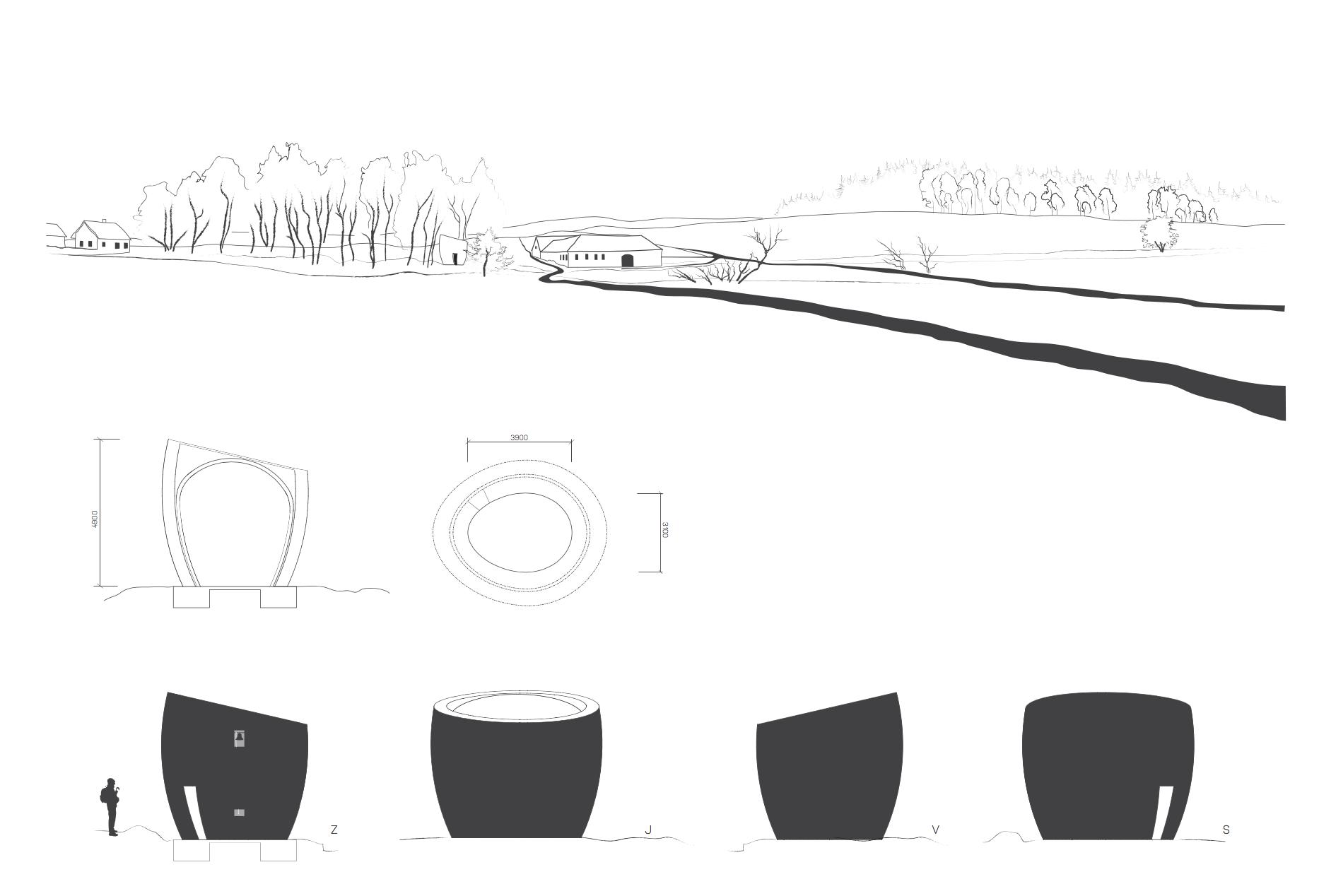 Kaplička Světla - čárový pohled. Autor: Kurz architekti