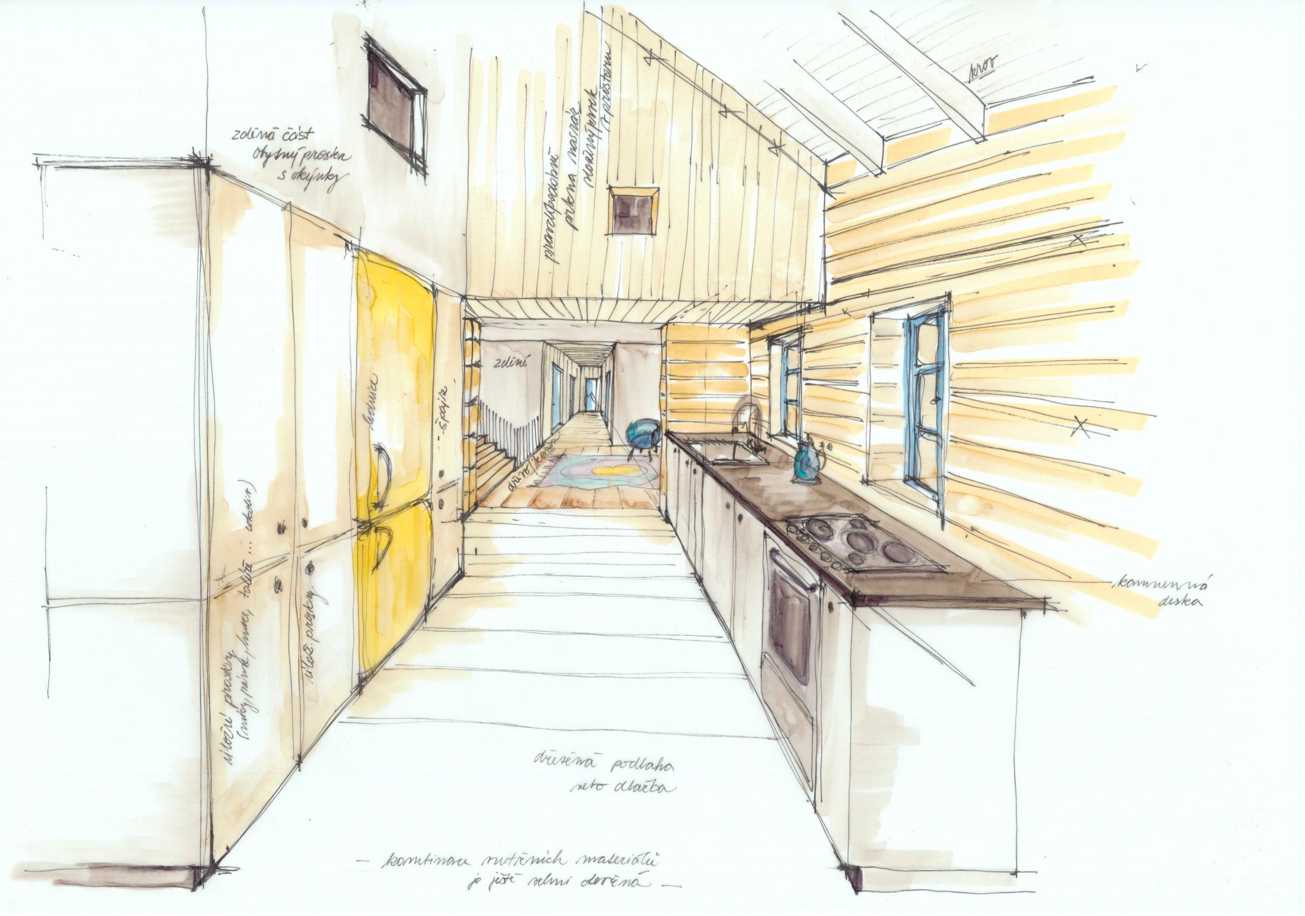 Hájenka v Krkonoších - ruční skica - interiér kuchyně. Autor: Kurz architekti