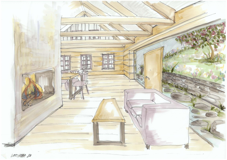 Hájenka v Krkonoších - ruční skica - interiér obývací části. Autor: Kurz architekti