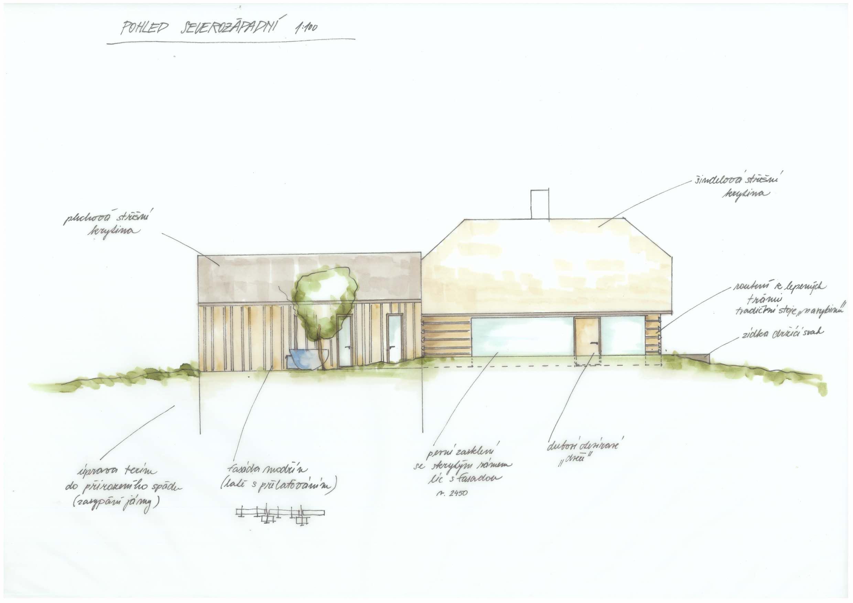 Hájenka v Krkonoších - ruční skica - severozápdní pohled se základními popisky jednotlivých prvků a materiálů  •  Kurz architekti