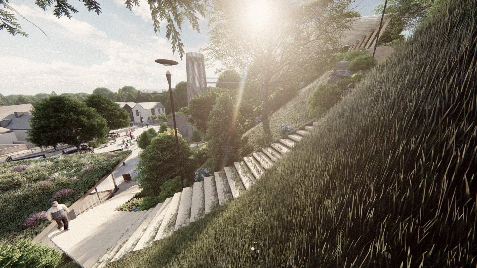 Rezidence Jenerálka KKCG - vizualizace schodiště na vyhlídku. Autor: Kurz architekti