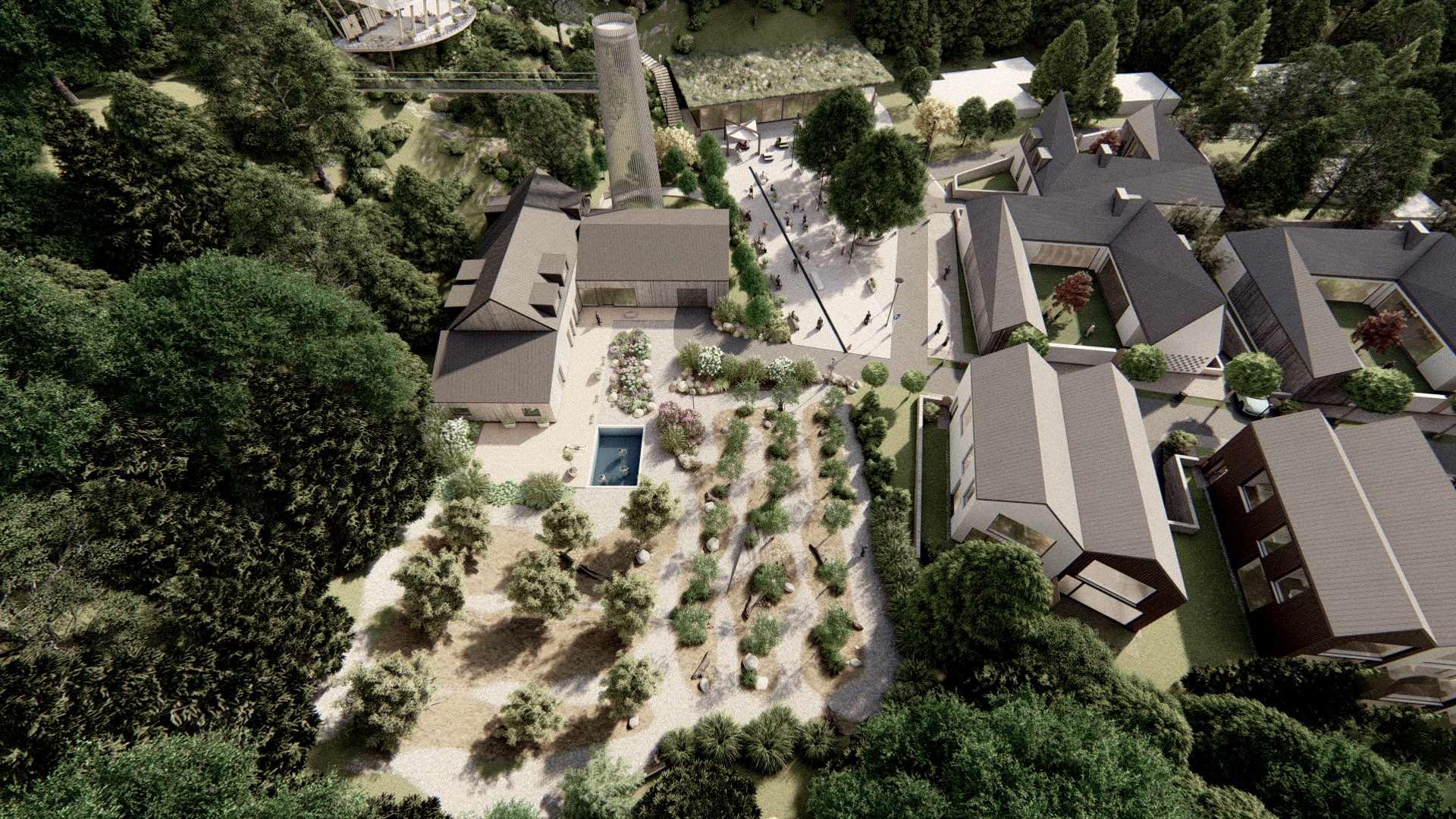 Rezidence Jenerálka KKCG - vizualizace domu správce - ptačí pohled. Autor: Kurz architekti