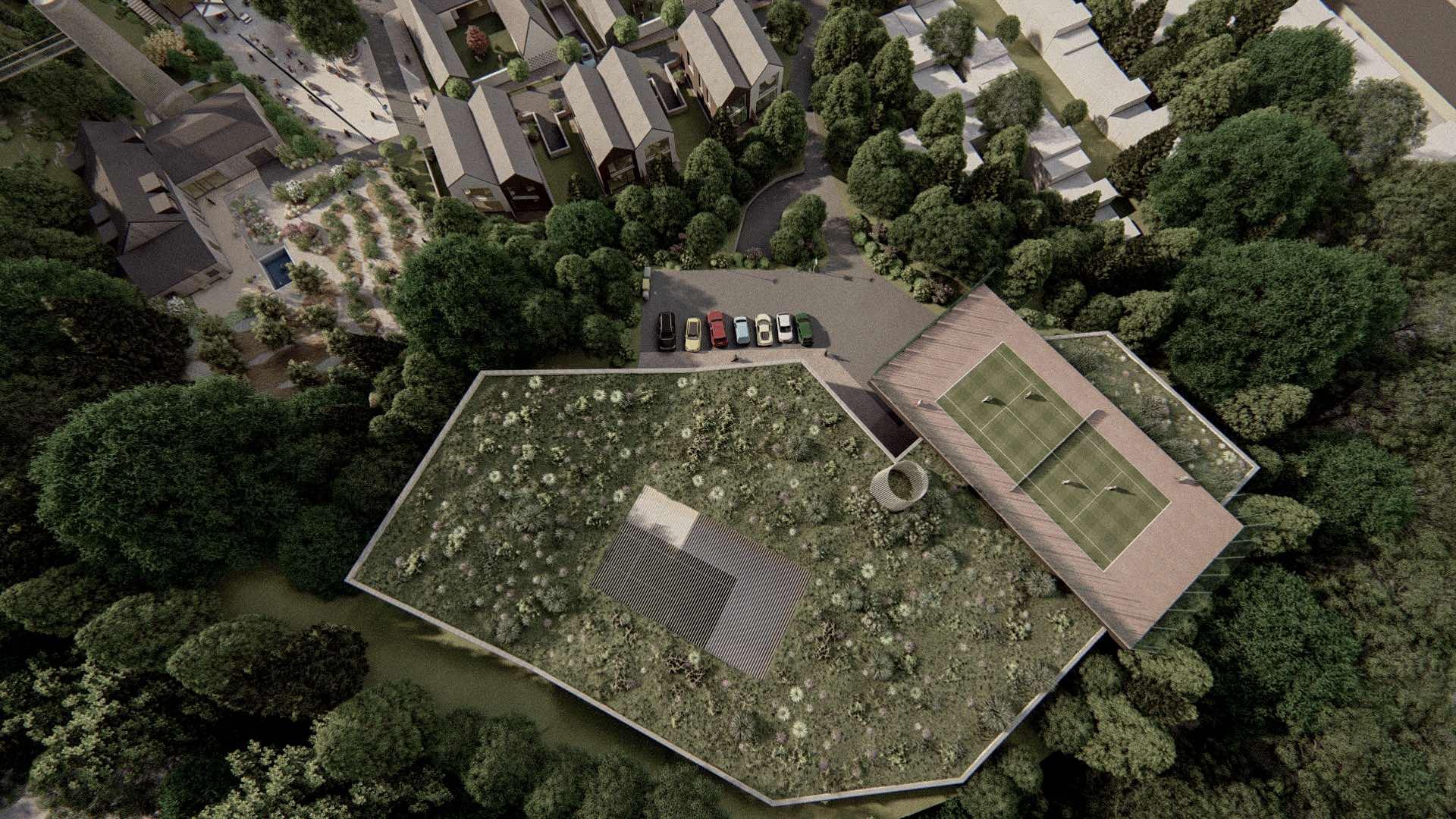 Rezidence Jenerálka KKCG - vizualizace sportovního komplexu - ptačí pohled. Autor: Kurz architekti