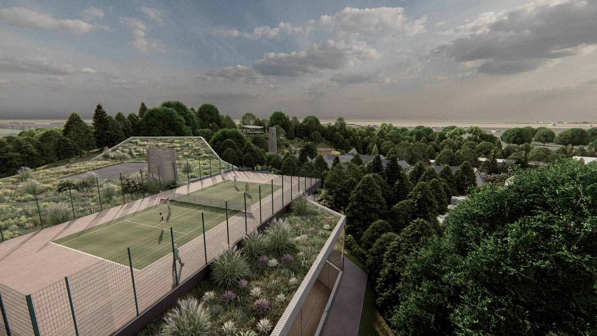 Rezidence Jenerálka KKCG - vizualizace sportovního komplexu - tenisový kurt na střeše. Autor: Kurz architekti