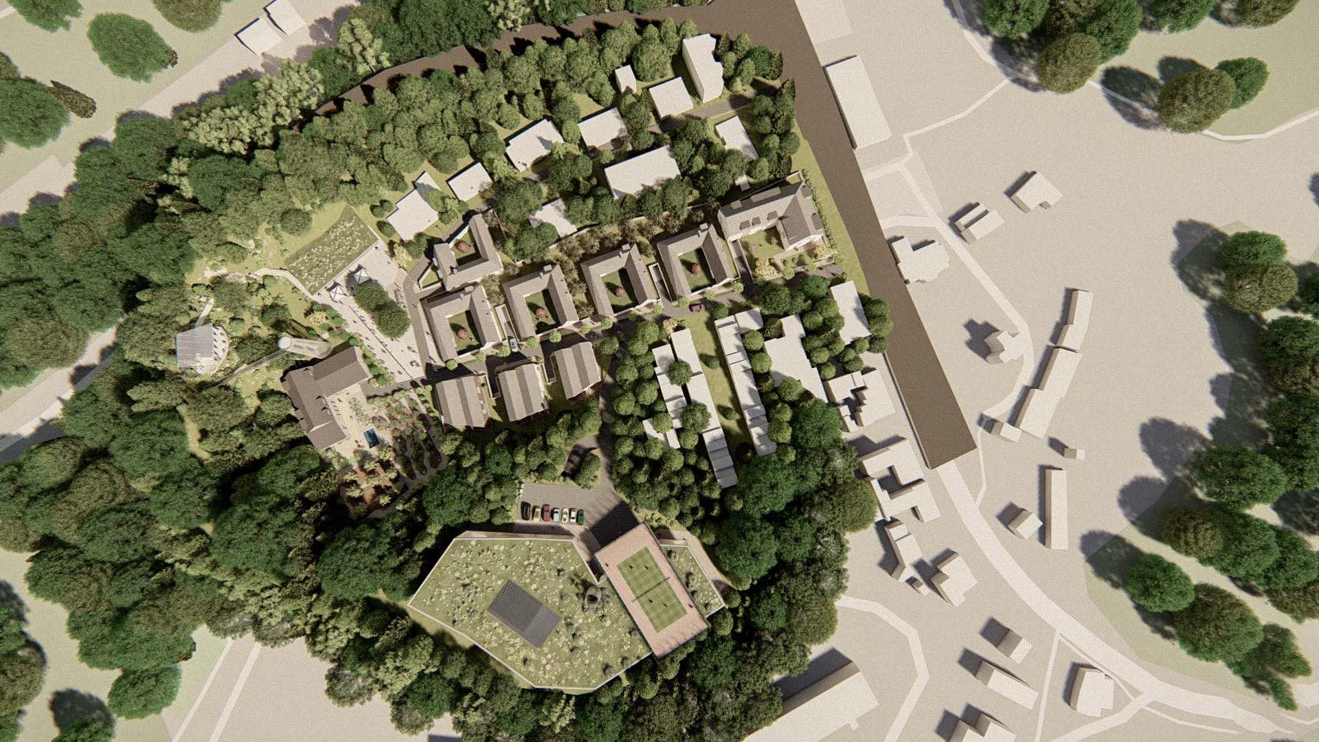 Vizualizace rezidenčního komplexu Rezidence Jenerálka KKCG - ptačí pohled. Autor: Kurz architekti