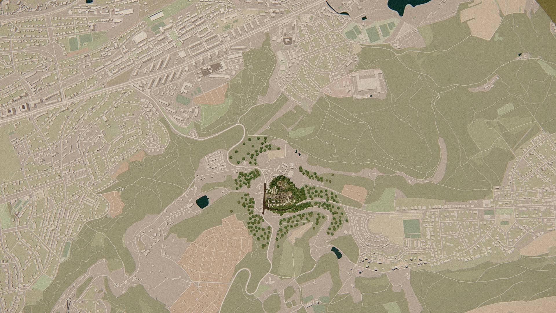 Rezidence Jenerálka KKCG - vizualizace situace - ptačí pohled. Autor: Kurz architekti