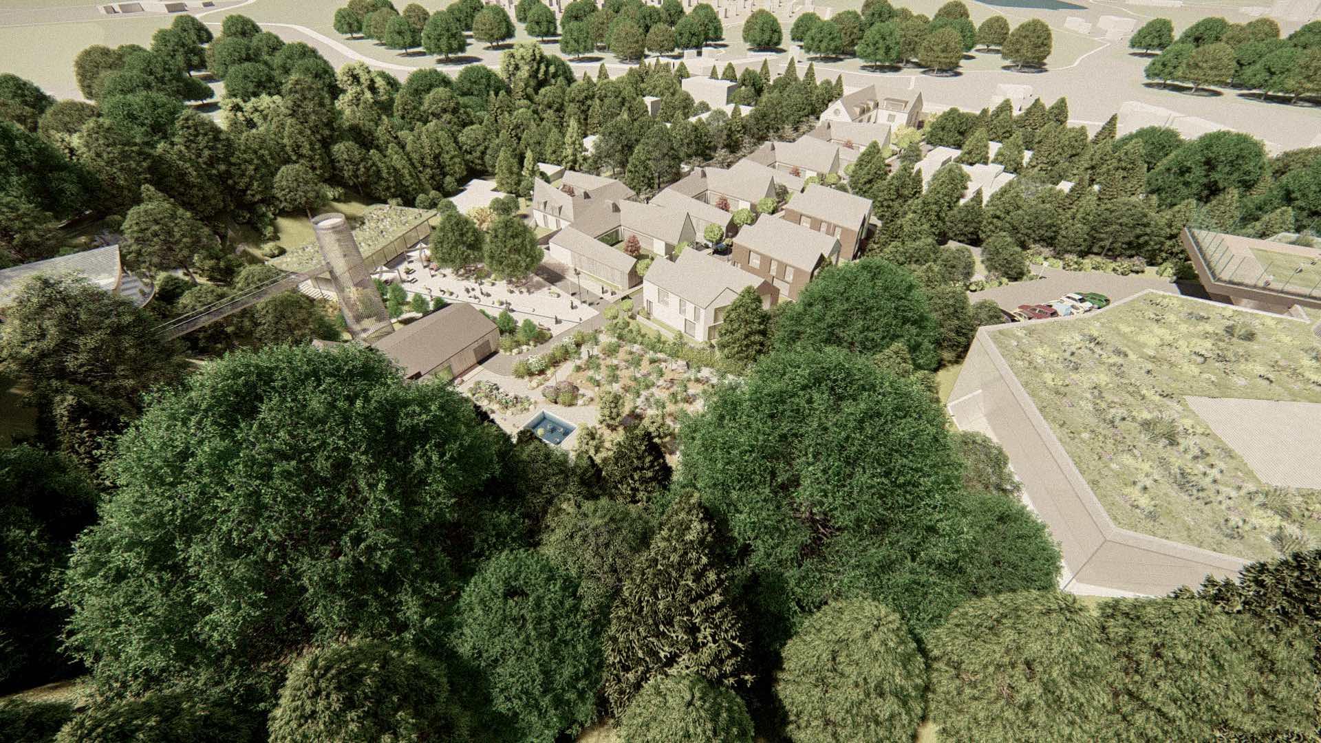 Vizualizace rezidenčního komplexu Jenerálka KKCG - ptačí pohled. Autor: Kurz architekti
