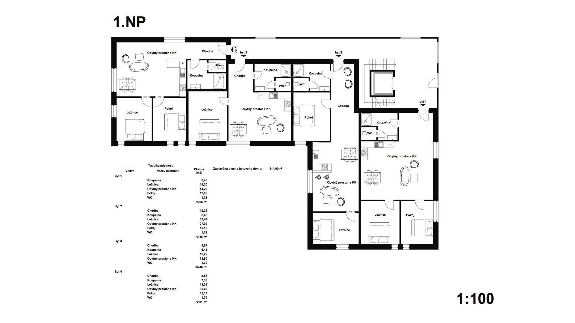 Rezidence Jeneralka KKCG - půdorys bytového domu - 1.NP. Autor: Kurz architekti