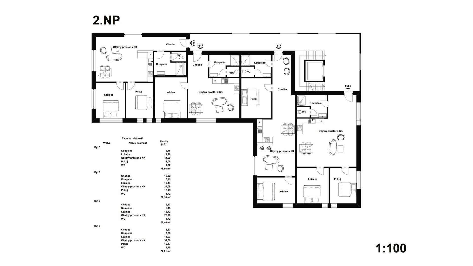 Rezidence Jeneralka KKCG - půdorys bytového domu - 2.NP. Autor: Kurz architekti