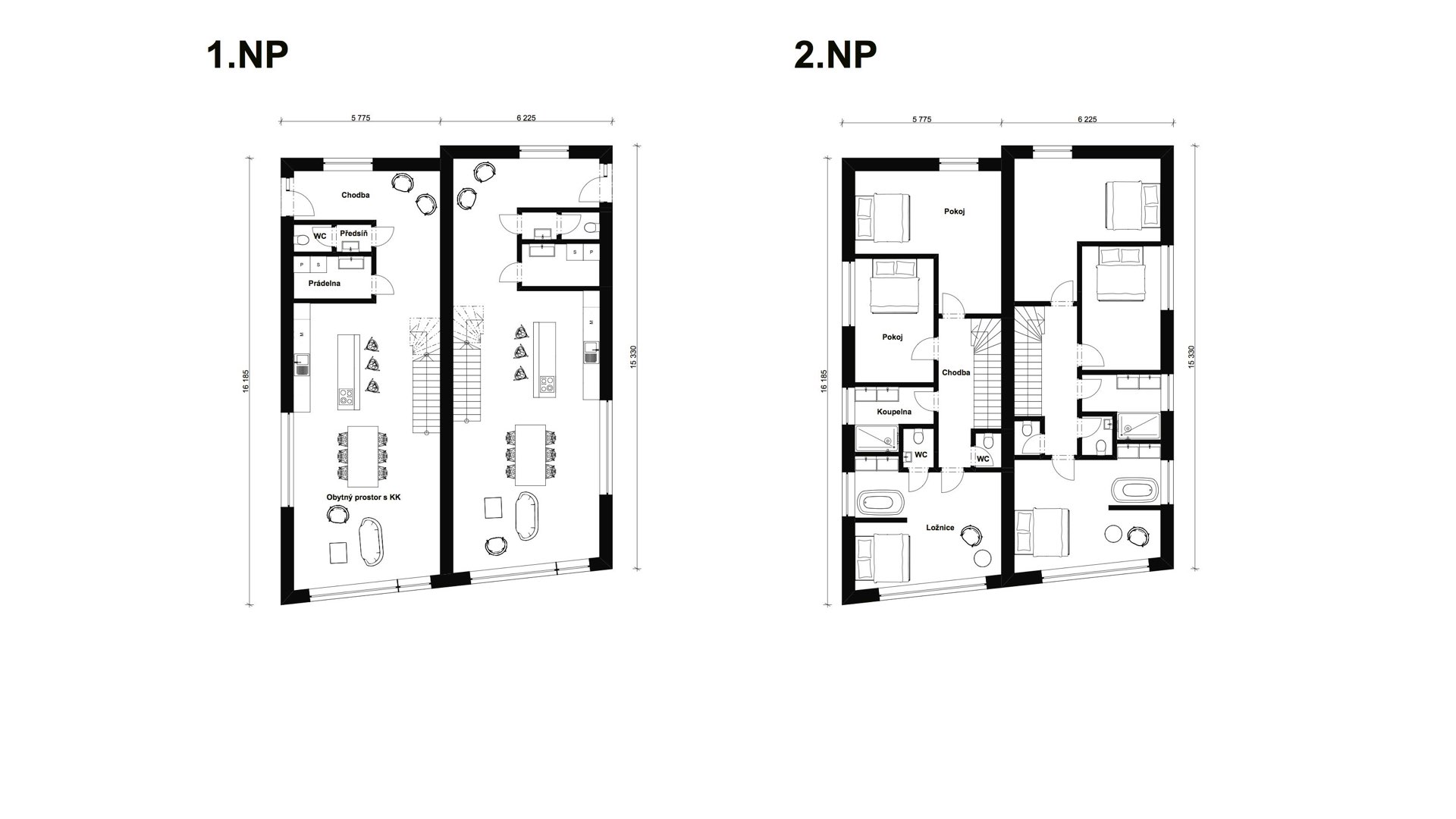 Rezidence Jeneralka KKCG - půdorys dvojdomu (řadovky). Autor: Kurz architekti