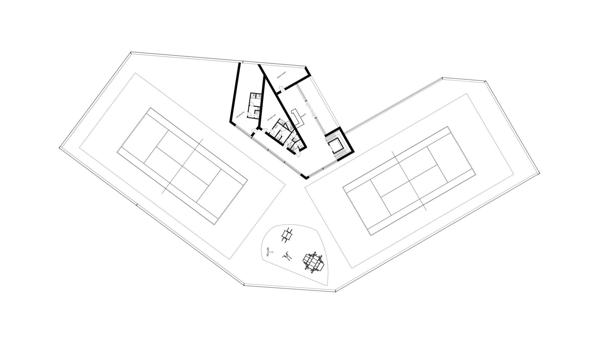 Rezidence Jenerálka KKCG - půdorys sportovního komplexu - 1.NP. Autor: Kurz architekti