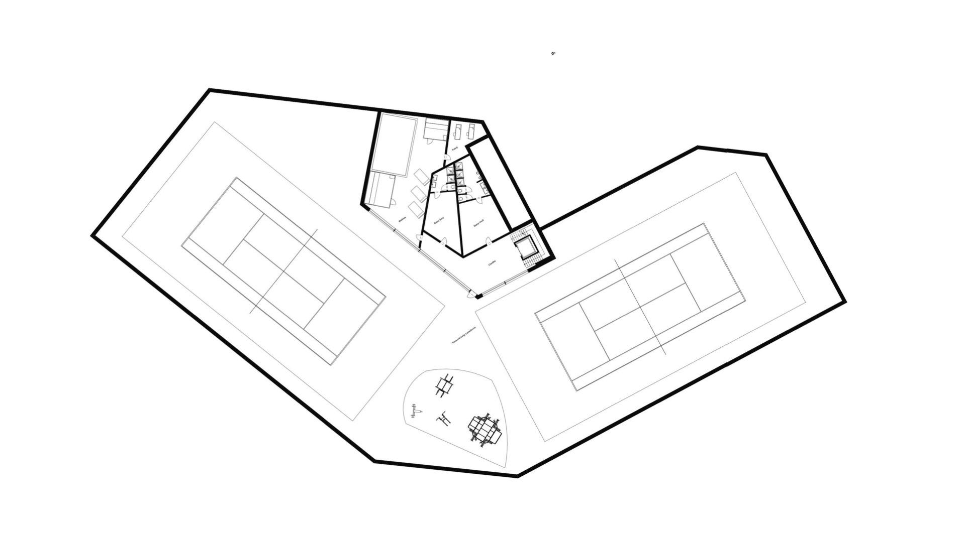 Rezidence Jenerálka KKCG - půdorys sportovního komplexu - 2.NP. Autor: Kurz architekti