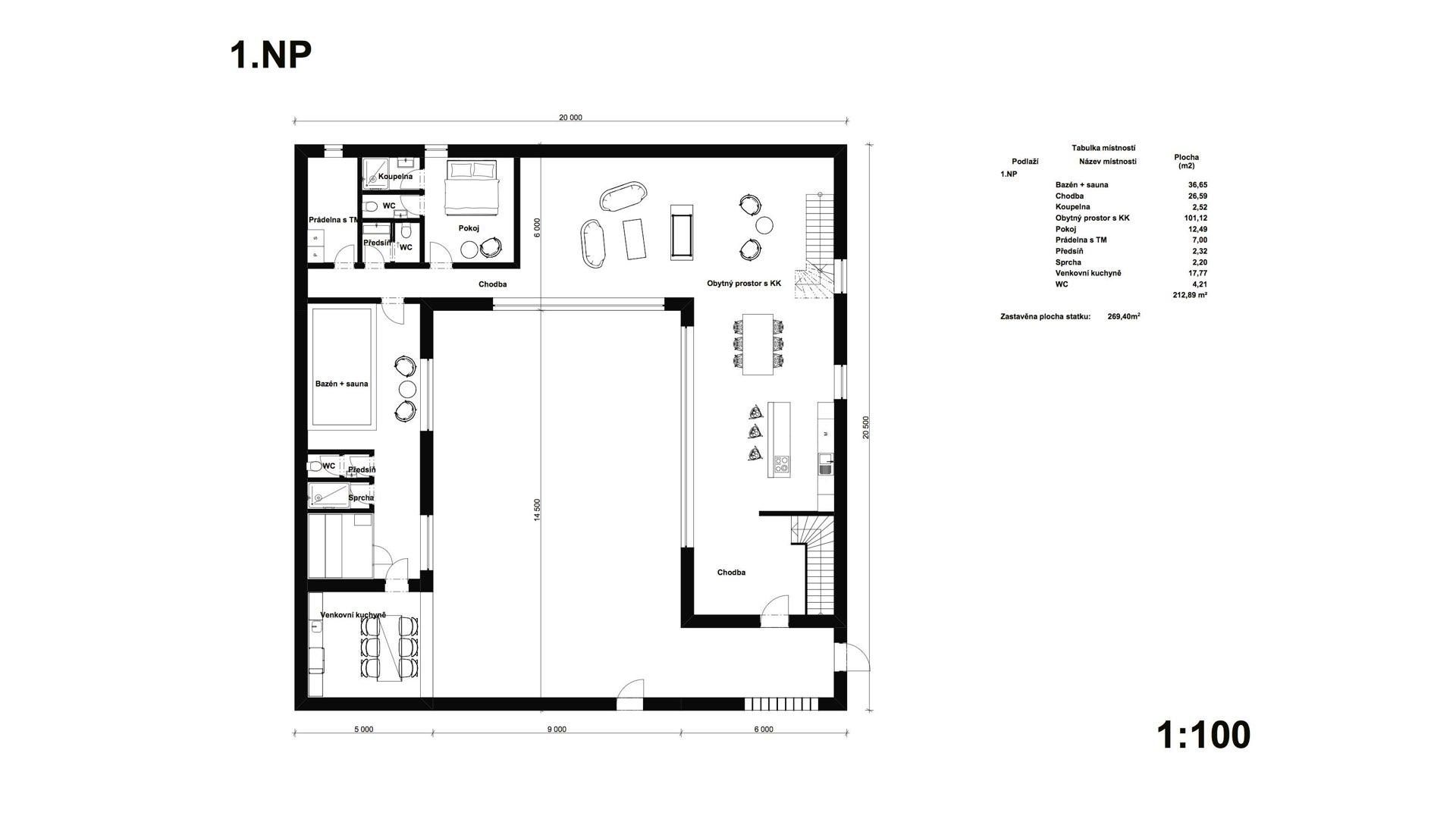Rezidence Jenerálka KKCG - půdorys rodinného domu (statek) - 1.NP. Autor: Kurz architekti