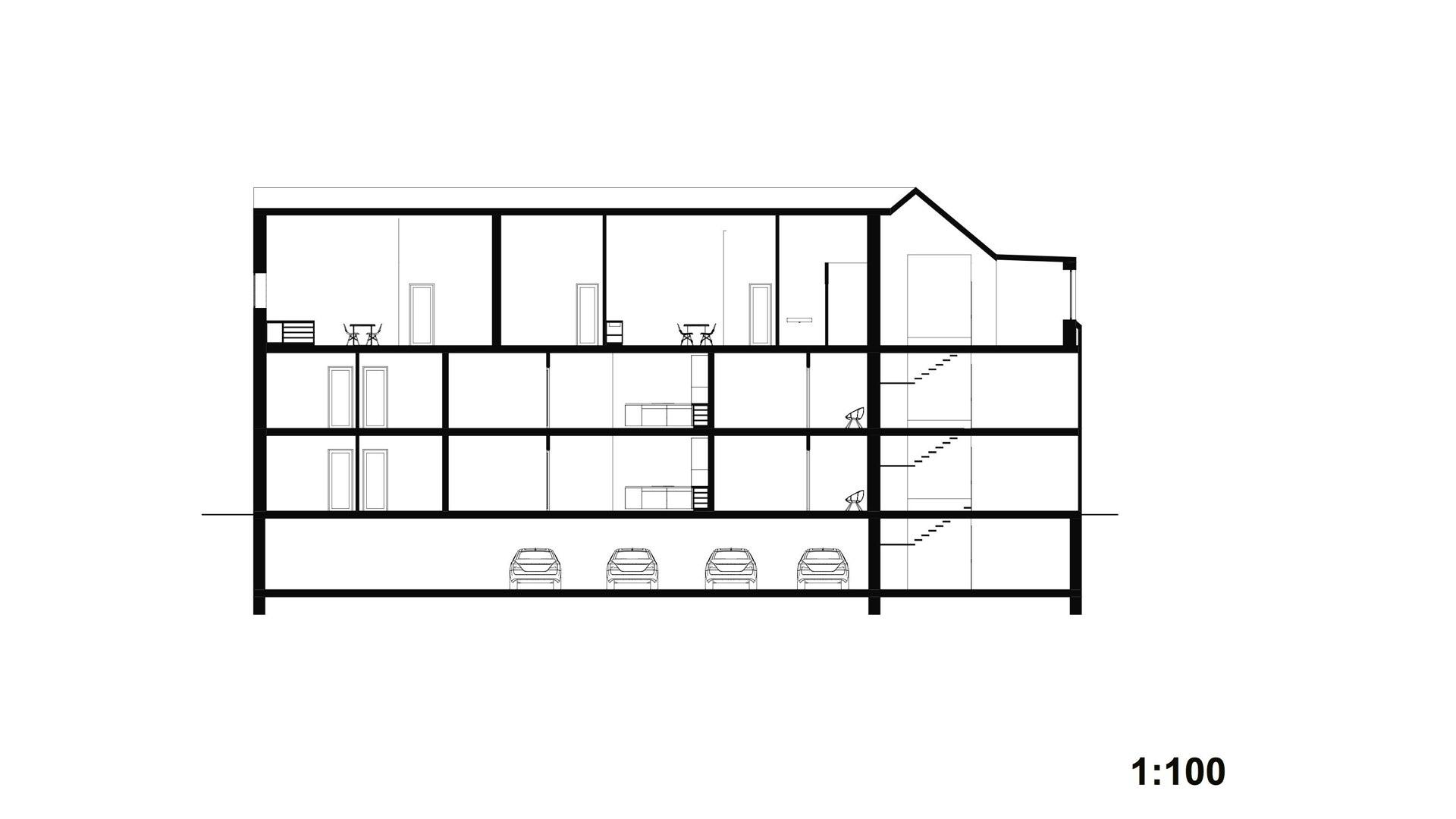 Rezidence Jenerálka KKCG - řez bytového domu. Autor: Kurz architekti