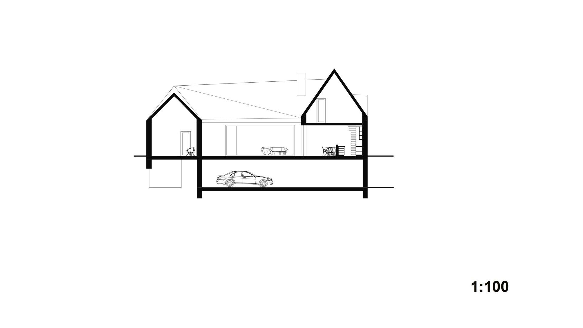 Rezidence Jenerálka KKCG - řez rodinného domu (statek). Autor: Kurz architekti