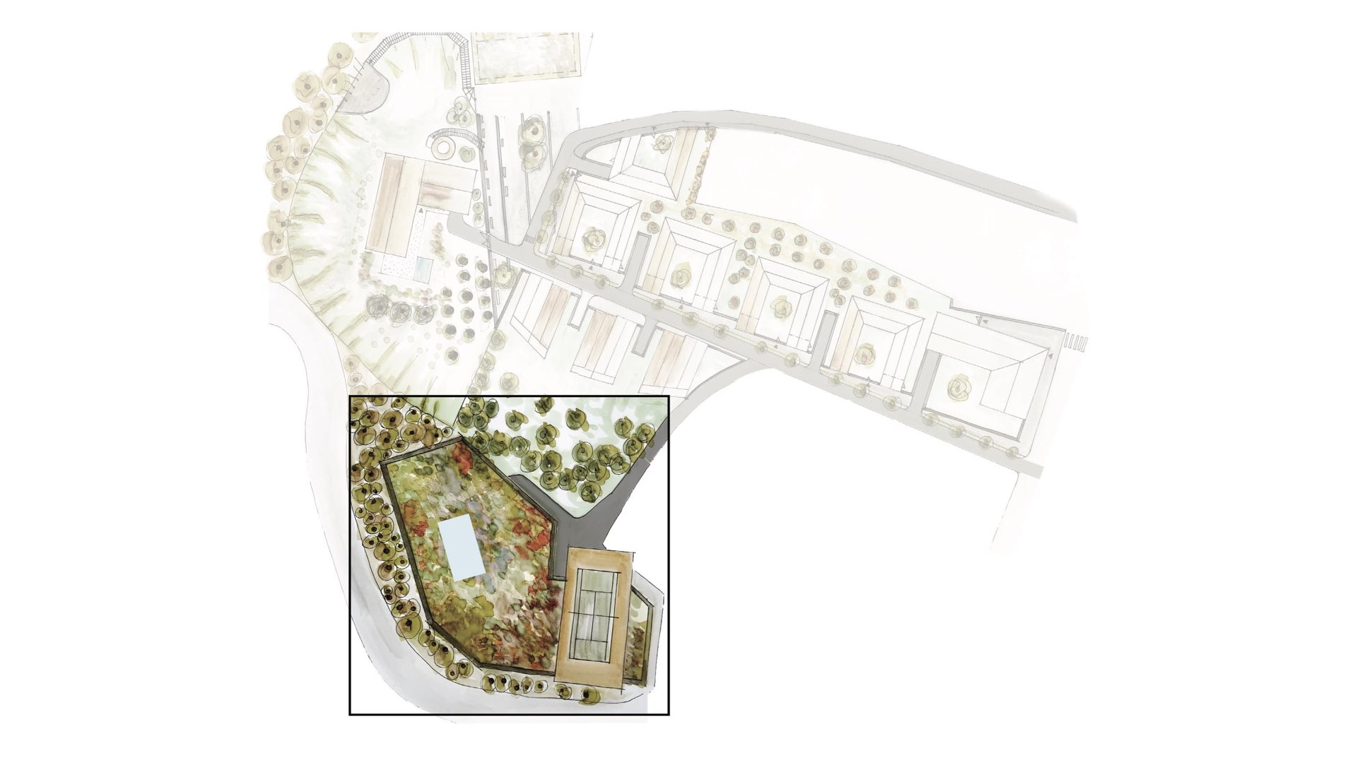 Rezidence Jeneralka KKCG - situace návrhu - sportovní komplex (tenisové kurty). Autor: Kurz architekti